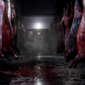Slaughterhouse - inside dark and gloomy, outside pretty pretty winter wonderland.