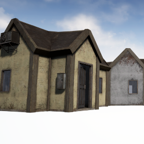 Collection of 4 Small Abandoned Buildings, All Enterable, and in different Colors, perfect for open world games etc.