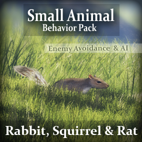 Animals for your game environments by Living Systems. Add interactive animals with scurrying behavior (Rabbits, Squirrels, & Rats) to your game environments. Built in enemy avoidance, drag and drop easy.