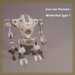 Small sci fi welder robot, animated and has multiple LODs.