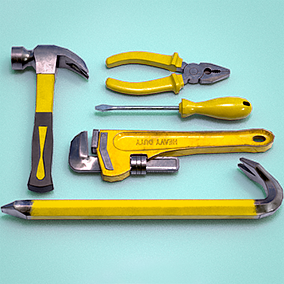 Small tool kit with crowbar includes 6 models: Crowbar, Hammer, Monkey Wrench, Pliers, Screwdriver, and Tool Case.