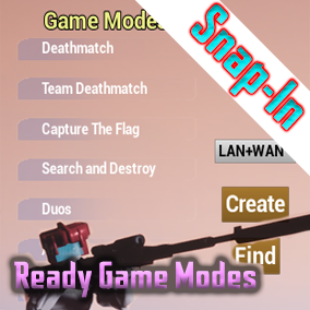 Snap in to any project and have ready classic game modes instantly with customizable options, auto-populating UI, advance sessions and even use your own player character!