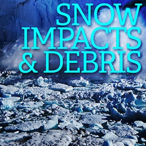 Snow impacts and debris sound effects library