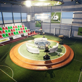 Soccer Studio scene with a modular building and over 34 additional props.