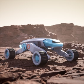 Playable Space Buggy. Realistic complex suspension. Customizable materials. 4K Textures. Ready to use as a Pawn.