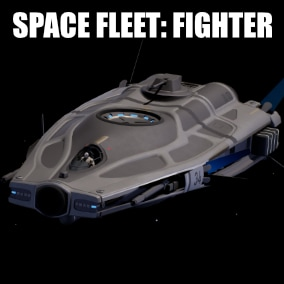 Realistic Fighter Spaceship model with skins, fx and control blueprint