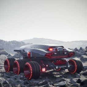 Playable Space Rover. Realistic complex suspension. Customizable materials. 4K Textures. Ready to use as a Pawn.