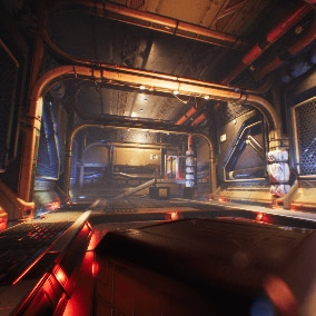 Spaceship interior. Modular environment contains pieces for sci-fi level building. In this case represented as a spaceship interior divided into three sections: cargo deck, main room, pilot deck.