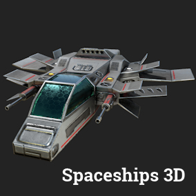 Spaceships 3d set with materials