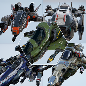 Assets contains pack of 5 high quality spaceships which could be used in fly genre game.
