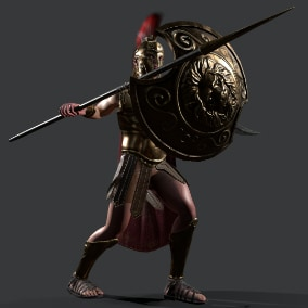 Low-poly model of the character spartan.