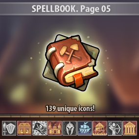 Set of 139 hand drawn spell icons.
