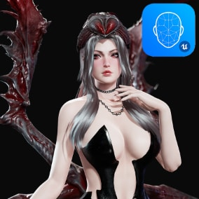 3D model of deadly Spider Queen. Rigged to Epic Skeleton with additional bones, Apple blendshapes. Completely modular, body without clothes is included. Contains many color variations. Physics for hair and spider legs
