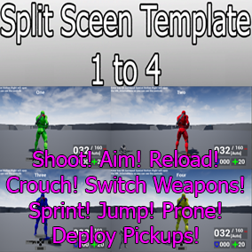 SplitScreen Template with 4 character classes, 2 weapon classes & AI. Utilizing the Animation Starter Pack for the Characters.