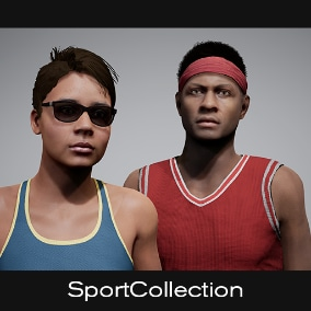 The Sports Collection comes with several sport clothing assets.