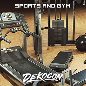 A collection of sports and gym assets that can be used for games or arch viz!