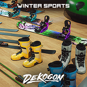 A collection of winter sports assets that can be used for games or arch viz!