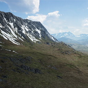 A 64 Square Kilometers landscape, taking you right into the middle of a green land surrounded by mountains with snowy tops where you can walk on the lower parts or go high into the mountains!