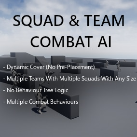 A squad and team combat AI solution, without using behaviour tree's. The AI finds cover automatically in the world geometry and receives orders from the squad leader, like which targets to engage.