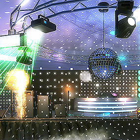 Fill the Night/Dance Club and Stage with over 35 HQ models, animations, and effects