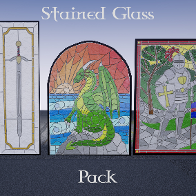 High Quality Stained Mosaic Window assets in different style: classic (knots and geometry), fantasy medieval (sword, knight, dragon and castle), Asian, Flowers, animals, woman figure and other (ship, tree). Perfect for first or third person and VR.