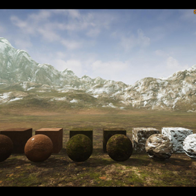 Three Materials(Grass, Dry-Mud soil, Rock) Landscape, sbsar