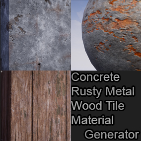 Three Materials Generator(Rusty Metal, Wood Tile, Concrete), sbsar