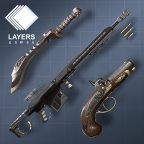 Excellent pack of basic weapons to start your shooting game both in 1st person and 3rd, highly detailed realistic texturing,  optimized by hand.
