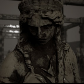 Worn-out statues and pillars in dystopian setting.