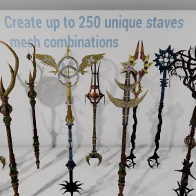 Generate up to 250 unique staff mesh combination and further customize them by changing their color, emissive hue and emissive power.