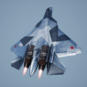 Fully rigged and animated stealth air fighter with interior