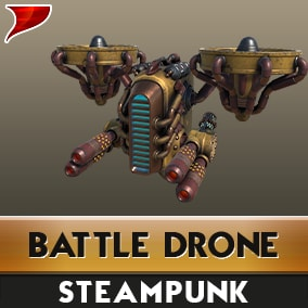 This is a pack of SteamPunk Battle Drone, This Pack includes Models, textures, materials, VFX, SFX and animations.