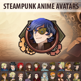 Set of 30 hand drawn Steampunk Anime Avatars.