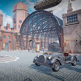 Steampunk square with a train station for railways and airships, a gear factory and steam refueling stations.