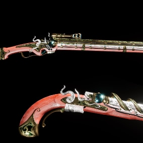 A pair of richly detailed steampunk energy weapons based off flintlock and wheellock firearms