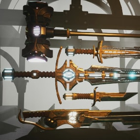 A set of 5 steampunk melee weapons with animations, dynamic materials and particle effects.