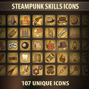 Set of 107 hand drawn Steampunk Skill icons.