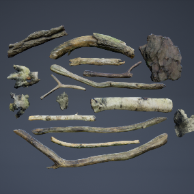 Scanned sticks and barks for your project!