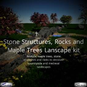 Realistic maple trees, stone structures and rocks to decorate countryside and medieval landscapes