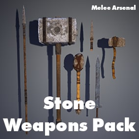 6 Stone Weapons  with Customizable Materials