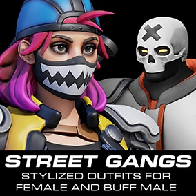 A set of items and props ideal to dress up NPCs in a street brawler game, or for any third person game.