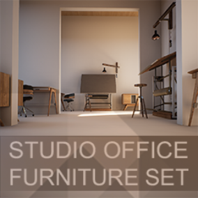 Set of furniture pieces designed for an office or studio environment.