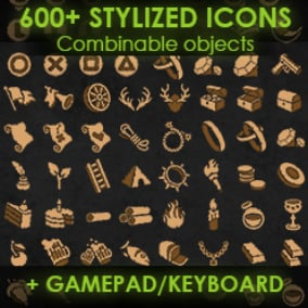 Stylized game icons+gamepad and keyboard icons+combinable bases (600+ textures overall)