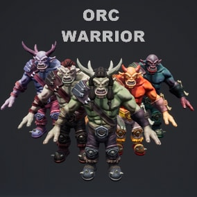 Low-poly customizable Orc Warrior character