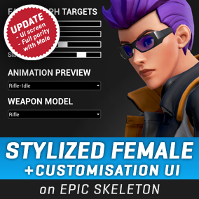 A stylized female character with a functional customization system, directly compatible with the Epic Skeleton, with outfit options and accessories. #Female #Stylized #Character #Battle #Royale #Third Person #Customization