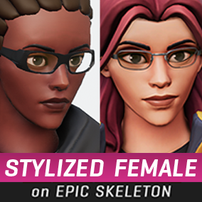 A stylized female character directly compatible with the Epic Male skeleton, with outfit options and accessories. #Female #Stylized #Character #Battle #Royale #Third Person