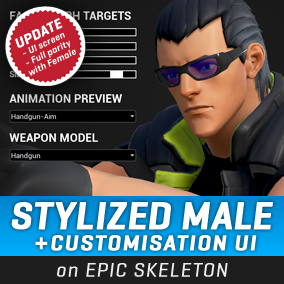 A stylized male character with a functional customization system, directly compatible with the Epic Male skeleton. #Male #Stylized #Character #Battle #Royale #Third Person