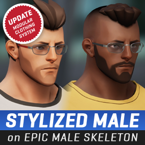 A stylized male character directly compatible with the Epic Male skeleton. #Male #Stylized #Character #Battle #Royale #Third Person