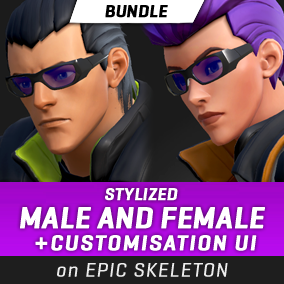A bundle of two stylized characters (male and female) with a functional customization system for clothing parts and accessories. Directly compatible with the Epic Skeleton.#Male #Female #Stylized #Character #Battle #Royale #Third Person #Customization