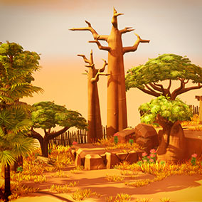 This pack includes 51 stylized African-themed landscape assets.